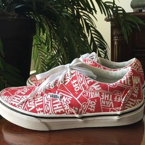 """Vans """"Off The Wall"""" Red & White Sneakers (5 Youth)"""
